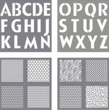 kit 4 Stencils 30,5x30,5 cm. Letras y Diseños