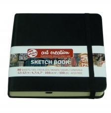 Cuaderno boceto tapa dura cosida Negro Art Creation 80 hojas 160 g/m2. 12x12 cm