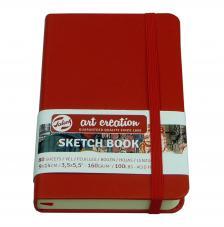 Cuaderno boceto tapa dura cosida Rojo Art Creation 80 hojas 160 g/m2. 9X14 cm