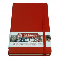 Cuaderno boceto tapa dura cosida Rojo Art Creation 80 hojas 160 g/m2. 13X21 cm