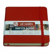 Cuaderno boceto tapa dura cosida Rojo Art Creation 80 hojas 160 g/m2. 12X12 cm