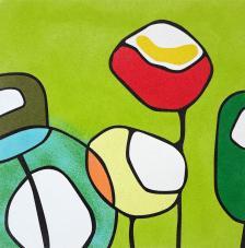 Flores Modernas Fondo Verde. 2 medidas
