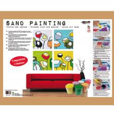 Sand Painting Composición 4 láminas flores 38x38 cm