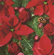 20 Servilletas Navidad. Flor de pascua con abeto