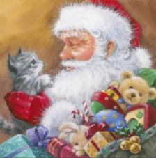 20 Servilletas Navidad. Santa con gatito