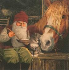 20 Servilletas Navidad. Nisse con caballo