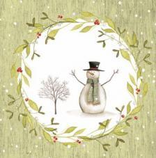 20 Servilletas Navidad. Muñeco de nieve fonfo verde