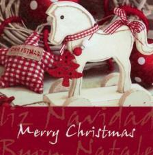 20 Servilletas Navidad. Caballo de madera