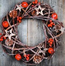 20 Servilletas Navidad. Corona natural