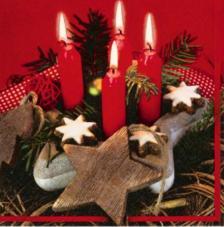 20 Servilletas Navidad. Velas y estrellas
