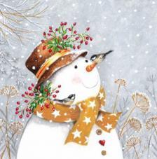 20 Servilletas Navidad. Muñeco nieve bufanda