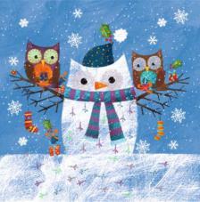 20 Servilletas Navidad. Buhos muñeco nieve