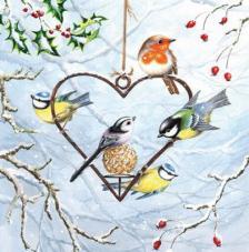 20 Servilletas Navidad. Corazon pájaros