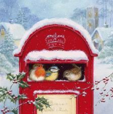 20 Servilletas Navidad. Buzón nevado