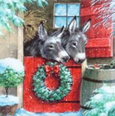 20 Servilletas Navidad. Burros en establo