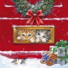 20 Servilletas Navidad. Gatitos