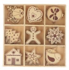 Set 27 siluetas madera navidad 2,5 cm. Figuras navideñas