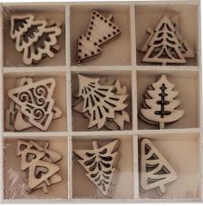 Set 27 siluetas madera navidad 2,5 cm. Arboles Navidad