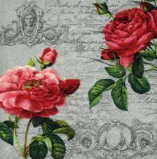 20 servilletas. Dos pares de rosas rojas