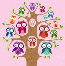 20 servilletas. Arbol de familia búhos fondo rosa