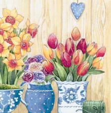 20 Servilletas. Macetas con Flores Primavera