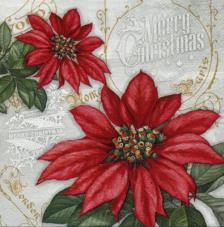 20 servilletas. Flores de Navidad pétalos rojo