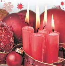 20 servilletas. Cuatro velas rojas