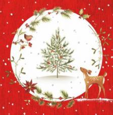 20 servilletas. Cervatillo y árbol rojo