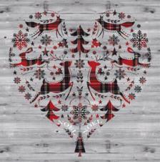 20 servilletas. Corazón madera invierno