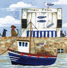 20 servilletas. Barco pesquero