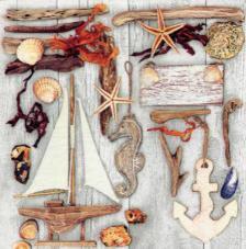 20 servilletas. Motivos marinos en madera