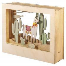 Cuadro 3D Lama madera 24x20x6,9cm