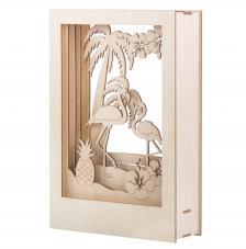 Marco madera 3D Flamenco 20x30x6,7cm