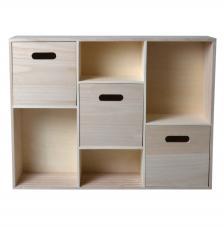 Mueble 3 cajones y estanterías 58x18x44 cm