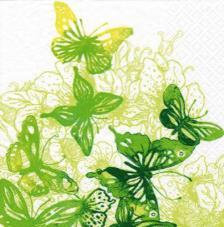 20 servilletas. Mariposas verdes