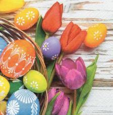 20 servilletas. Pascua flores y huevos pintados
