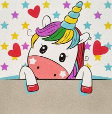 Lamina unicornio estrellas 30x30 cm