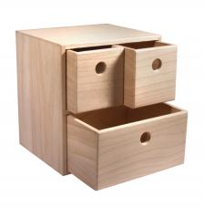 Caja madera 3 cajones 21x18x23 cm