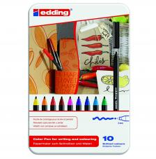 Estuche metal 10 rotuladores edding 1300. 2 mm