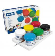 Caja 6 botes 40 ml de témpera colores surtidos