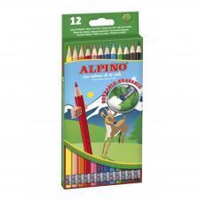 Estuche 12 lápices de colores Alpino Borrable