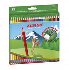 Estuche 24 lápices de colores Alpino Borrable
