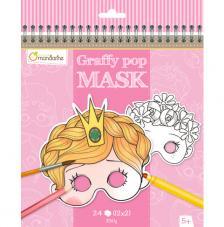 Cuaderno para colorear con dibujos de máscaras Graffy Pop Mask Princesas