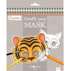 Cuaderno para colorear con dibujos de máscaras Graffy Pop Mask Animales