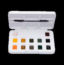 Estuche plástico 12 pastillas acuarela tonos Natural + 1 pincel Van Gogh