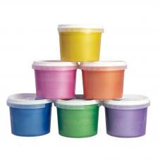 Maletín 6 tarros de pintura para dedos de colores metalizados 100 ml