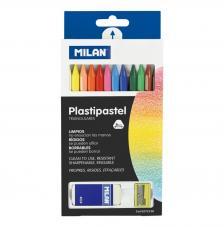 Caja 12 Plastipastel de colores + goma + sacapuntas