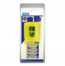 Blíster sacapuntas eléctrico POWER-SHARP (pilas incluidas) amarillo Acid