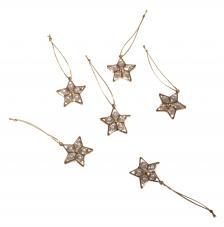 Blister 6 estrella colgante de cristal Oro Ø 2,8 cm