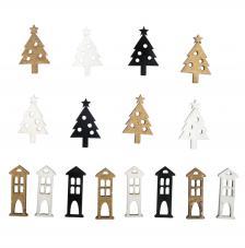 Surtido 16 piezas madera Árbol de Navidad + casa 1,5x2,2 cm